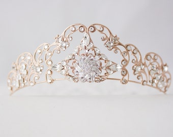 Rose Gold Tiara  Filigree Bridal Crown Art Deco Diadem Crystal Wedding Hair Accessories Swarovski Bridal Tiara   for weddings SONNET TIARA
