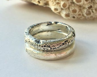 Chunky Sand Cast Ring Band Oxidised