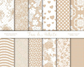 Classic Tan and White 12 sheet assortment pack, Digital printable craft paper, scrapbook supplies, Origami crafts - INSTANT DOWNLOAD Pack