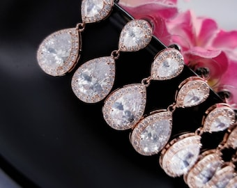 Set of 4 Rose Gold Earrings, Four Crystal Wedding Earrings, 4 Bridesmaids Gift Earrings, Crystal Earrings Bridesmaid, CZ Jewelry