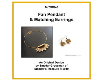 Beading Tutorial, Fan Pendant and Earrings, Pattern with Tila and Crystal Pearl Beads. Beadweaving Instructions, PDF File Instant Download