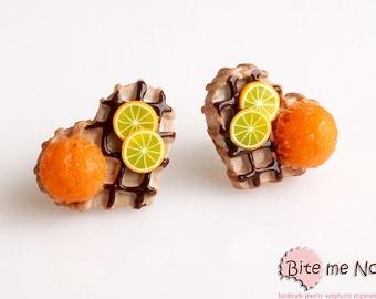 Polymer clay Jewelry Fruit Waffles Post Earrings, Mini Food, Handmade Earrings, Polymer Clay Sweets, Miniature Food, Foodie, Kawaii Jewelry
