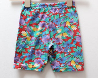 Vintage cotton jersey shorts in bright floral print, age 5-6 years