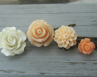 Blush vanilla collection white big rose, blush peach rose, cream dhalia, peach little rose 4pcs