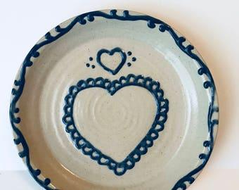 Vintage Pie Plate, Pottery Pie Plate, Heart Design, Heart Pie Plate, Blue Heart Plate, 1993 Plate