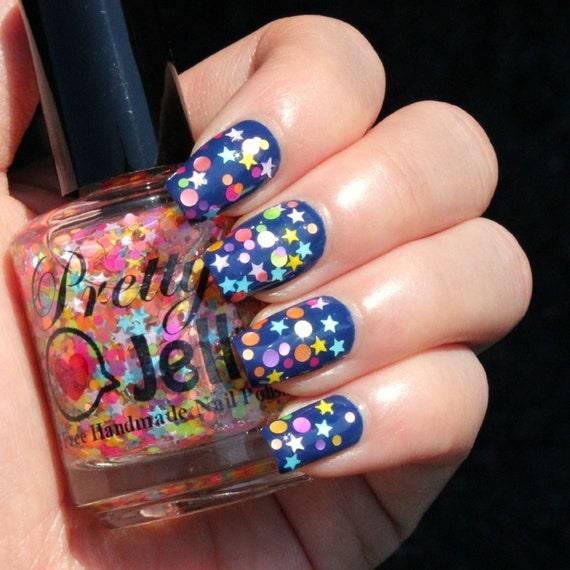 Glitter Nail Polish, Indie Nail Lacquer, Mini Star, Dot, Neon ...