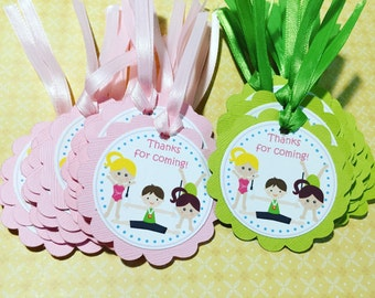 Gymnastics Party Gift Tags
