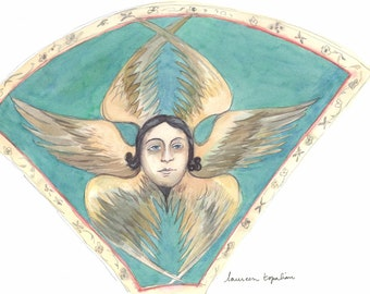 Original watercolor- Etchmiadzin Faces with wings-Armenian cathedral-Armenia painting