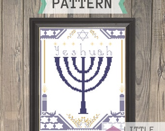 Yeshuah Menorah - Messianic Cross Stitch Pattern - Instant Download PDF