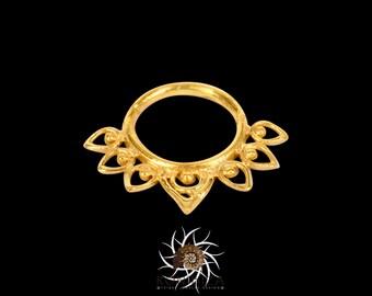 Lotus Gold Septum Ring - Indian Septum Ring - Tribal Septum Ring - 18g Septum Ring - 16G Septum Ring - Septum Jewelry - Septum Piercing -G10