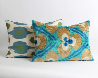 ikat velvet pillow cover with silk ikat backing 16x20 Handwoven & hand-dyed green, blue and brown lumbar decorative pillow