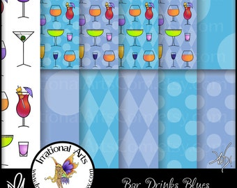 Bar Drinks Blues - Digital Scrapbooking Papers with 11 jpg files 300dpi [INSTANT DOWNLOAD]