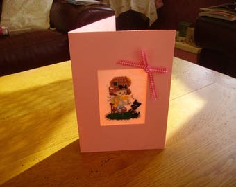 embroidered card child