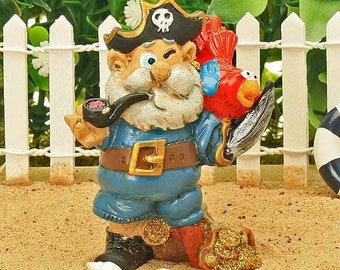 Captain Pugwash, Comical Pirate, Miniature Pirate, Pirate with Parrot, Beach Themed Garden, Fairy Garden Pirate, Accessory, Cake Topper