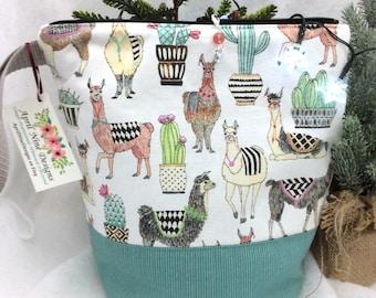 Medium Llama Knitting Bag, Knitting Project Bag, Llama Crochet Project Bag, Yarn Bag, Craft Project Bag