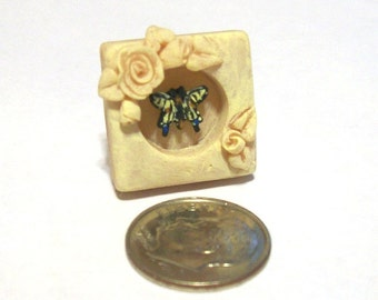 Shabby Chic Swallowtail Butterfly & Cream Roses 3D Frame - Free-Standing - OOAK Handsculpted 1:12 Scale Dollhouse Decor