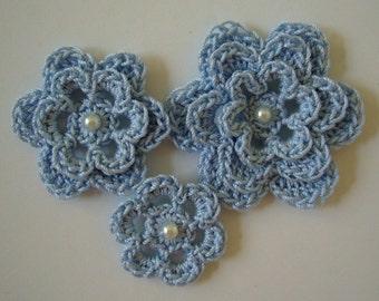 Crocheted Flowers - Bridal Blue - Cotton Flowers - Crocheted Flower Appliques - Crocheted Flower Embellishments