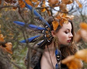 Flying Heads Giant Blue Feather Earcuff, Tribal Earcuff, Pagan Earcuff, Ara-parrot Earcuff, Festival Earcuff with Feathers , Blue Earcuff