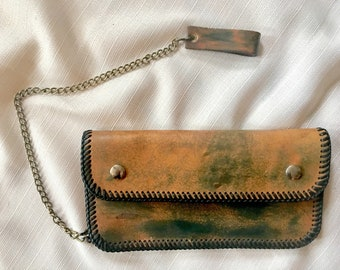 Vintage biker wallet // leather chain wallet // biker wallet with chain