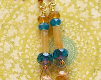November Birthstone Boho Chic Earrings, Gold Citrine Earrings, Czech Glass Blue and Yellow Earrings, Gemstone Earrings, Gold Earrings, SRAJD