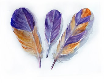 Feathers painting original Art painting Feathers illustration in purple and orange Feathers wall art 10.5 x 14,5  Fantasy Feather drawing