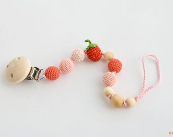 Strawberry Pacifier Clip - Dummy Chain, Teething Clip - Baby Girl Gift, for Little Princess - PC05