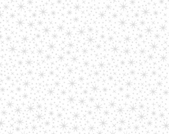 Sparkle print with metallic silver on white background ~ 1/2 Yard Cut ~ 100% Cotton Coordinating Quilt Fabric