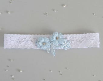 White and blue wedding garter, something blue garter, white and blue lace garter, white lace garter, toss garter, garter with lace
