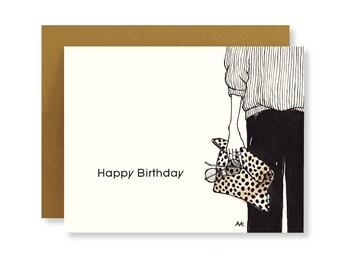 Birthday Card Best friend/Happy Birthday Card/Birthday Card Her/Fashion Illustration Card/Girlfriend Birthday/Fashion Birthday Cards for Her