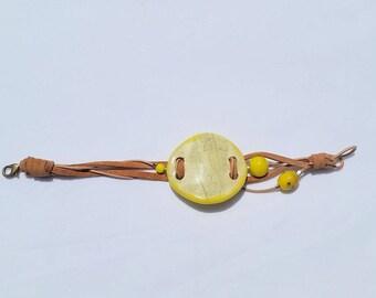 fern leaf bracelet - handmade pottery, adjustable lengh