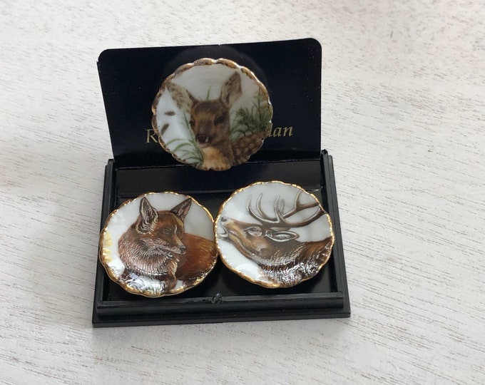 Featured listing image: Miniature Wildlife Wall Plate Set, Moose, Fox and Deer Plate, Set of 3 Porcelain Wall Plates by Reutter, Dollhouse Miniature, 1:12 Scale