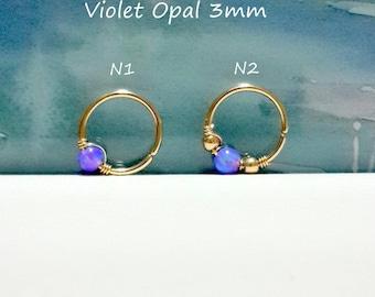 16g 18g 20g 22g  Violet Opal 3mm tragus hoop, tiny opal tragus ring, October's Birthstone, tragus piercing jewelry,6-10mm inner diameter