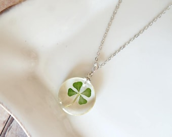 Four Leaf Clover clear resin necklace - clear resin, white gold plated silver chain