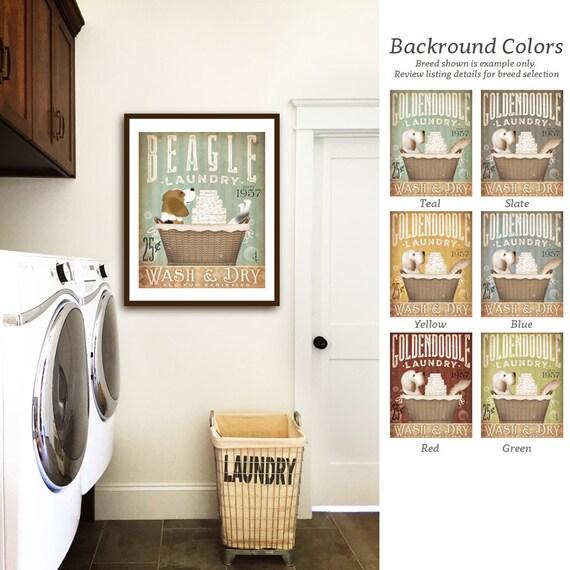 Beagle dog laundry basket company laundry room artwork