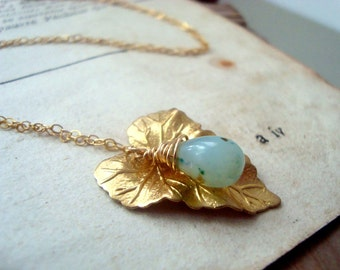 Ivy Leaf Necklace With Green Opal Gold Nature October Birthstone Gifts Under 50 Art Nouveau Gemstone Jewelry Bridesmaid Jewelry