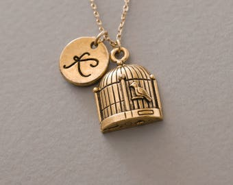 Birdcage necklace, bird cage charm, antique gold necklace, personalized infinity necklace, friendship jewelry,Monogrammed Necklace