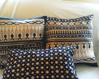 """Throw Pillows Complete, Navy Blue and Cream, 15"""" square, 9"""" x 17"""""""