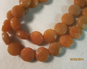 "12x6mm, Natural Red Aventurine Beads, Grade B, Hand-cut, Faceted, Flat Rounds Beads - This is the Last 4"" (9 bead) Partial Strand Left..."