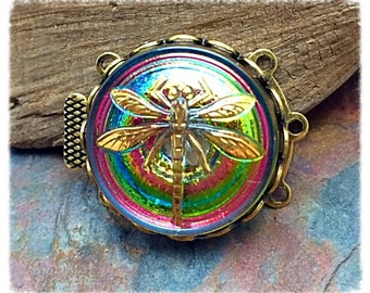1  Metallic Iridescent Dragonfly Czech Glass Clasp in Antique Gold, Silver, or Vintage Brass