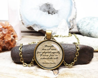 Gandhi Necklace True Strength gift gandhi pendant New age necklace Yoga Necklace Hindu jewelry Mahatma Gandhi quote necklace yoga jewelry