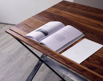 Walnut Drafting Table Desk - X Legs