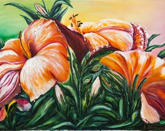 Floral oil painting 'Lilies', lily flower original oil painting 50x70cm, original artwork, palette knife