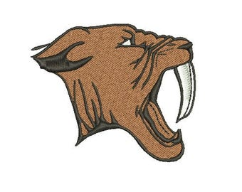 sabre tooth tiger embroidery design