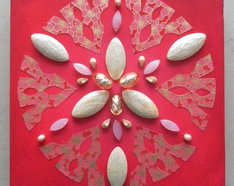 Red and White Beaded Snowflake Canvas