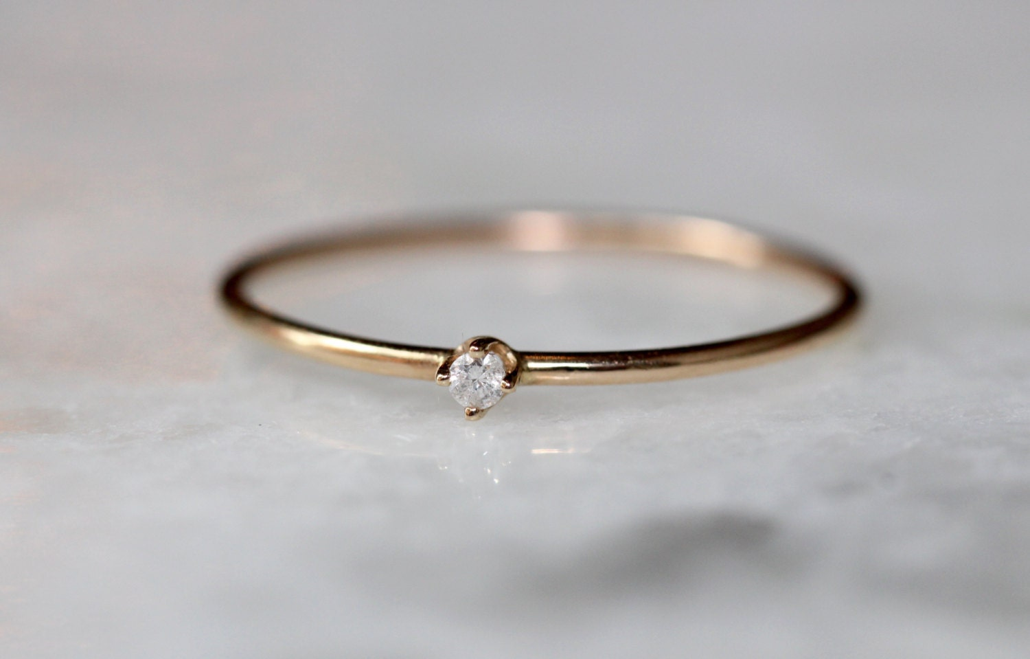 Well known 14K Tiny Diamond Ring HR69