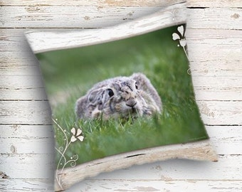 Bunny Rabbit, Throw Pillow, Easter Pillow, Easter Bunny, Child's Throw Pillow, Kid's Room Decor, Nursery Room Decor, Wildlife Pillow