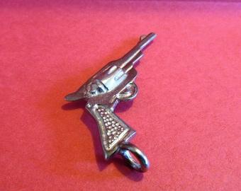Six Pewter Pistol Gun Pendants