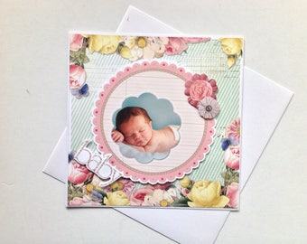 Birth congratulations card, handmade, 3D baby Is born-happy birthday, baby, congratulations, anniversary