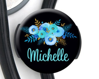 Stethoscope Tag - Blue Floral Black Bkgd - Personalized Name Badge Reel, Steth Tag, Lanyard, Carabiner Nurse Badge / Steth ID / LPN / RN