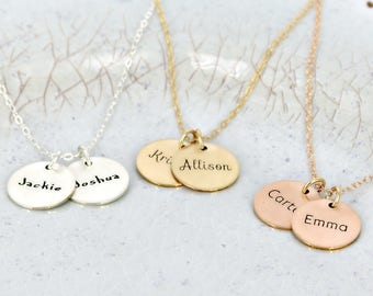 Gold name necklace • Personalized mother necklace • Bridesmaid name necklace • Silver, gold-filled or rose gold-filled • 5/8 inch necklace